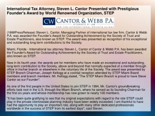 International Tax Attorney, Steven L. Cantor Presented with