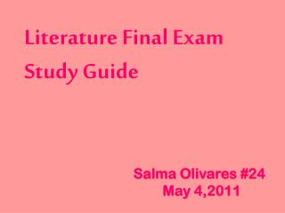 Literature Final  Exam Study  Guide