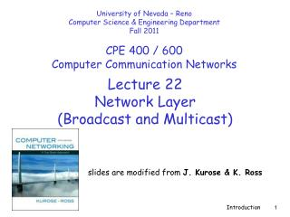 Lecture  22 Network Layer  (Broadcast and Multicast)