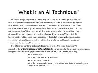 What Is an AI Technique?