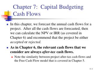 Chapter 7:  Capital Budgeting Cash Flows