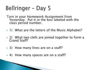 Bellringer  – Day 5