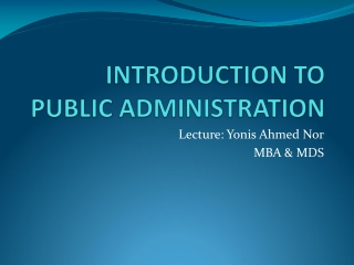 Scope of Public Administration