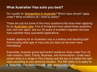 What Australian Visa suits you best?