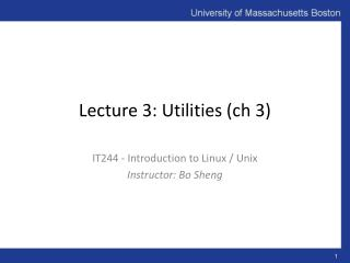 Lecture 3: Utilities ( ch  3)