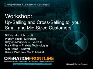 Workshop: Up-Selling and Cross-Selling to  your Small and Mid-Sized Customers