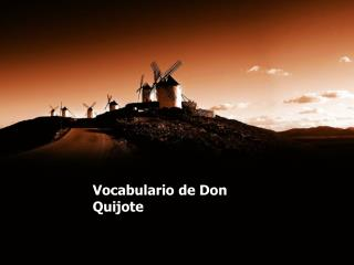 Vocabulario  de Don  Quijote