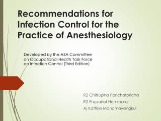 Recommendations  for Infection Control for the Practice of  Anesthesiology