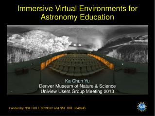 Immersive Virtual Environments for Astronomy Education