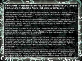 AmeriQuest Transportation Services, Led by President and CEO