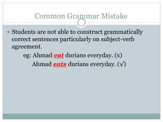 Common Grammar Mistake