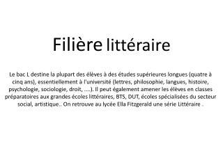Filière littéraire