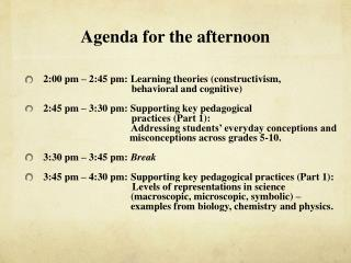 Agenda for the afternoon