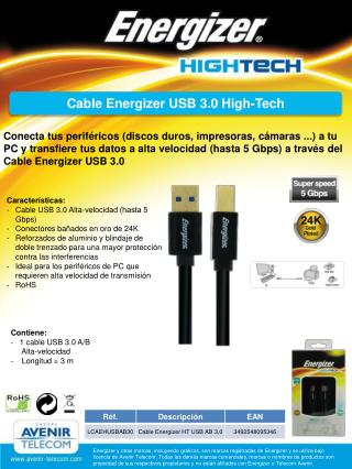 Cable  Energizer USB  3.0 High- Tech