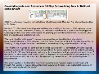 Greenbrideguide.com Announces 10 Stop Eco-wedding Tour At Na