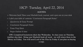 10CP: Tuesday, April 22, 2014