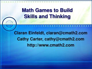 Math Games to Build  Skills and Thinking