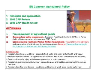EU  Common Agricultural Policy