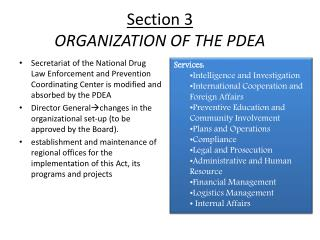 Section 3 ORGANIZATION OF THE PDEA