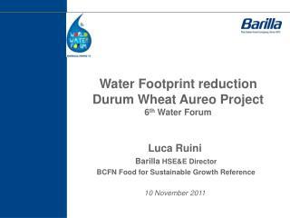 Water Footprint reduction Durum Wheat  Aureo  Project  6 th  Water Forum