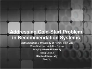 Addressing Cold-Start Problem in Recommendation Systems