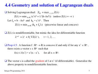 4.4 Geometry and solution of Lagrangean duals