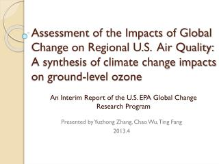 An Interim Report of the U.S. EPA Global Change Research Program