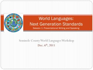 World Languages: Next Generation Standards Session 1: Presentational Writing and Speaking