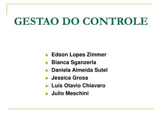 GESTAO DO CONTROLE