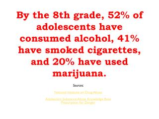 Alcohol kills 6.5 times more youth than all other illicit drugs combined.