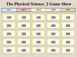 The Physical Science_2 Game Show