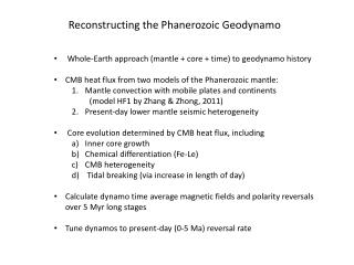 Reconstructing the Phanerozoic  Geodynamo