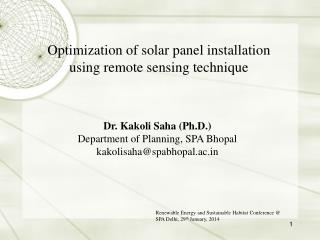 Optimization of solar panel installation using remote sensing technique