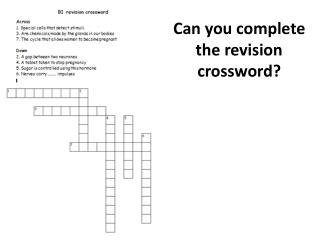 Can you complete the revision crossword?