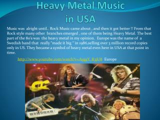 Heavy Metal Music  in USA