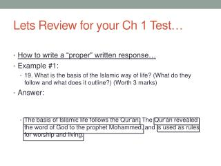 Lets Review  for your  Ch  1 Test…