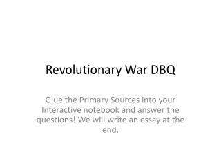 Revolutionary War DBQ