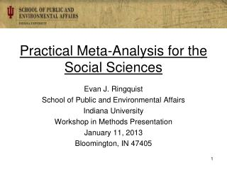 Practical Meta-Analysis for the Social Sciences