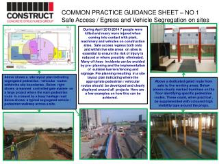 COMMON  PRACTICE GUIDANCE SHEET – NO 1 Safe Access / Egress and Vehicle Segregation on sites