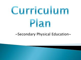 Curriculum Plan