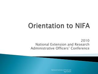 Orientation to NIFA