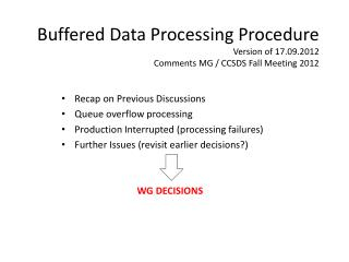 Buffered Data Processing Procedure Version of 17.09.2012 Comments MG / CCSDS Fall Meeting 2012