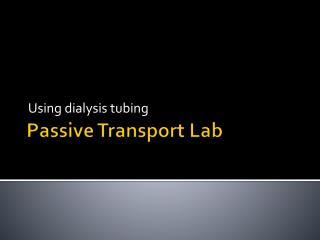 Passive Transport Lab