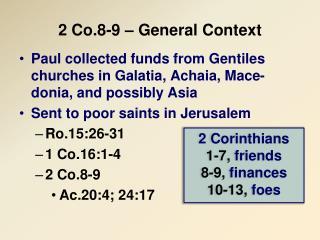 2 Co.8-9 – General Context