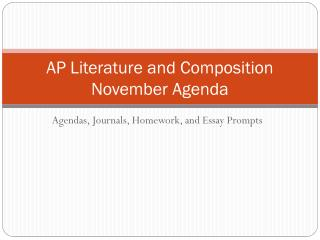 AP Literature and Composition November Agenda