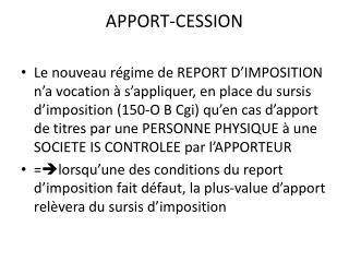 APPORT-CESSION