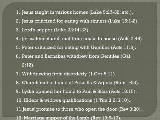 Jesus taught in various homes (Luke 5:27-32; etc.).