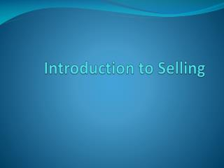 Introduction to Selling