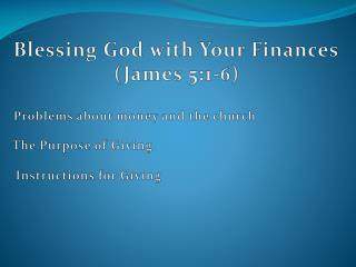 Blessing God with Your Finances