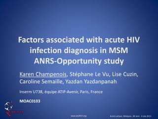 Factors associated with acute HIV infection diagnosis in MSM ANRS-Opportunity study